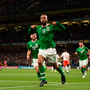 David McGoldrick of Republic of Ireland celebrates after scoring his side's first goal during the UEFA EURO2020 Qualifier Group D match between Republic of Ireland and Switzerland at Aviva Stadium, Dublin. Photo by Stephen McCarthy/Sportsfile