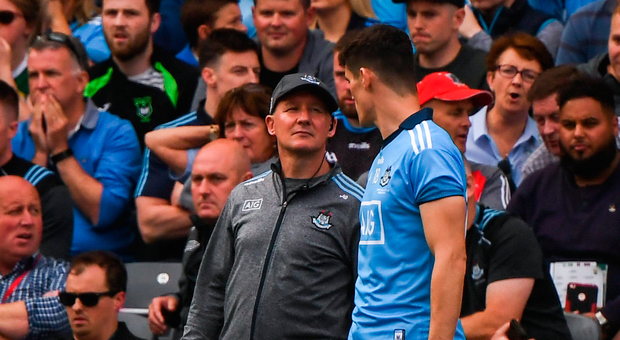 1 September 2019; Dublin manager Jim Gavin and Diarmuid Connolly during the GAA Football All-Ireland Senior Championship Final match between Dublin and Kerry at Croke Park in Dublin. Photo by Stephen McCarthy/Sportsfile