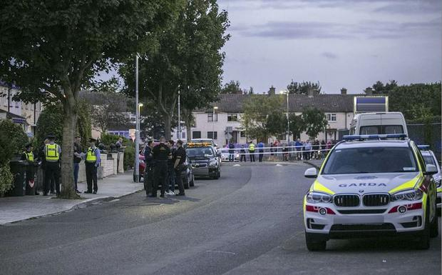 Gardai at the scene of the Shooting on Streamville Road in Donaghmede Photo: Kyran O'Brien