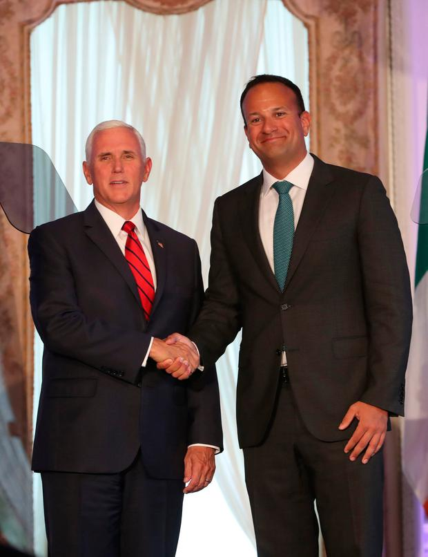 US Vice President Mike Pence during a joint news conference with Taoiseach Leo Varadkar at Farmleigh House in Dublin, Ireland. Photo: Liam McBurney/PA Wire