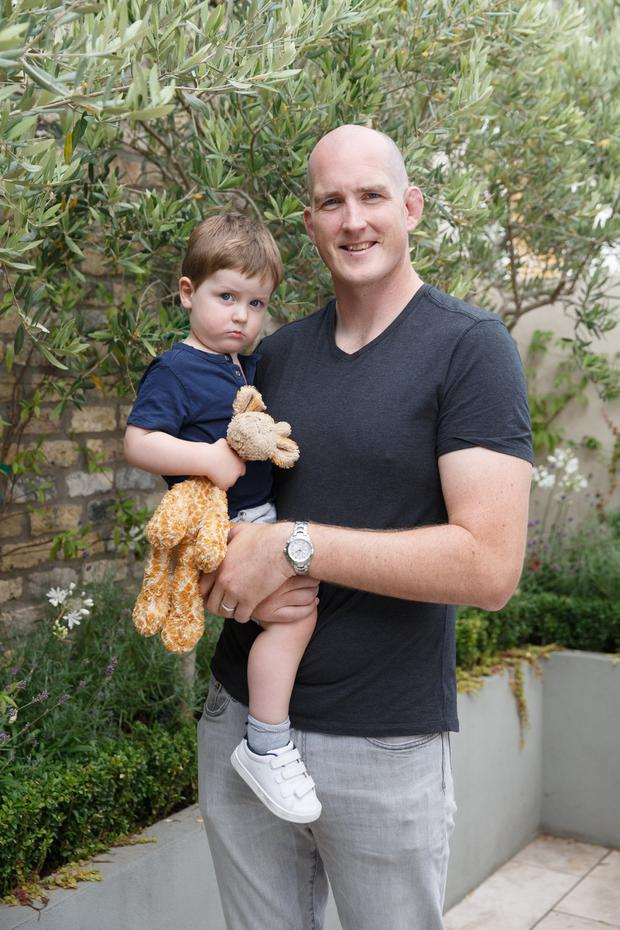 Devin Toner at home with his son Max. Photo: © Fran Veale