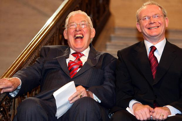 Paisley and McGuinness after being sworn in as ministers of the Northern Ireland Assembly. Picture: Getty