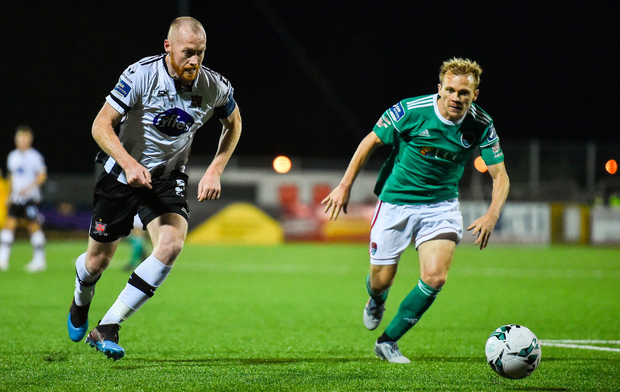 Chris Shields of Dundalk in action against Conor McCormack of Cork City. Photo by Ben McShane/Sportsfile