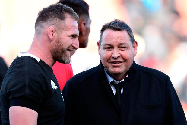 New Zealand's Kieran Read (L) and the head coach Steve Hansen share a smile during the rugby union Test match between New Zealand and Tonga in Hamilton on September 7, 2019. (Photo by MICHAEL BRADLEY / AFP)MICHAEL BRADLEY/AFP/Getty Images