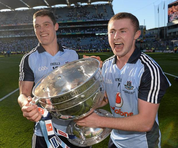 22 September 2013; Dublin's Diarmuid Connolly, left, and Jack McCaffrey celebrate with the Sam Maguire cup following their side's victory. GAA Football All-Ireland Senior Championship Final, Dublin v Mayo, Croke Park, Dublin. Picture credit: Stephen McCarthy / SPORTSFILE