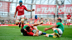 7 September 2019; Dan Biggar of Wales is tackled by Robbie Henshaw of Ireland, left, and Rob Kearney during the Guinness Summer Series match between Ireland and Wales at Aviva Stadium in Dublin. Photo by David Fitzgerald/Sportsfile