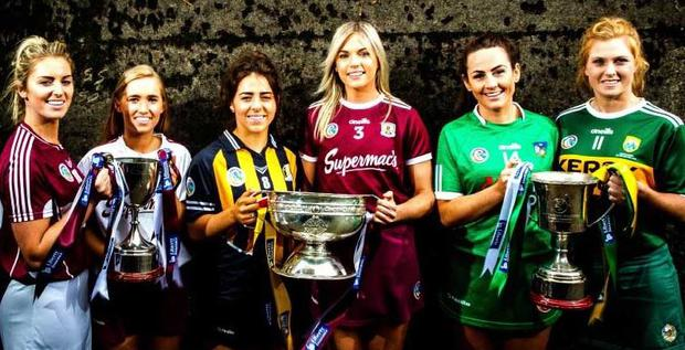 All set for Sunday's finals are Mairead McCormack (Westmeath), Ward (Galway), Meighan Farrell (Kilkenny), Sarah Dervan (Galway), Grace Lee (Limerick) and Laura Collins (Kerry) Photo: Ryan Byrne