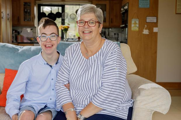 SCHOOL: Nikki Curran and her son Tim. Photo: James Connolly
