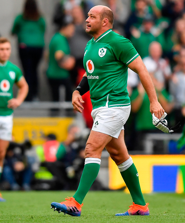 Ireland's Rory Best leaves the pitch after being substituted. Photo: Sportsfile