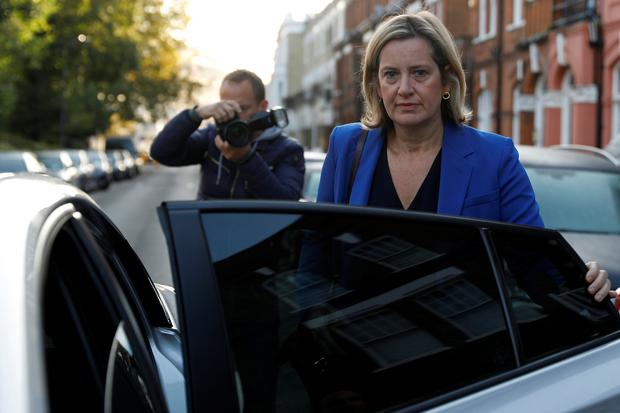 Amber Rudd leaves her home in London Britain