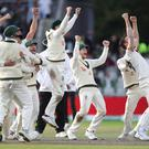 Cricket - Ashes 2019 - Fourth Test - England v Australia - Emirates Old Trafford, Manchester, Britain - September 8, 2019 Australia's celebrate the wicket of England's Craig Overton to win the match and retain the Ashes Action Images via Reuters/Carl Recine TPX IMAGES OF THE DAY