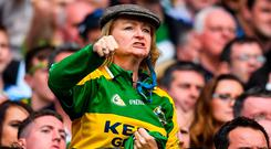 Pack a punch: A Kerry supporter reacts during the final moments of the drawn final; Kerry love playing in Croke Park even if they're outnumbered five to one. Photo: Brendan Moran/Sportsfile