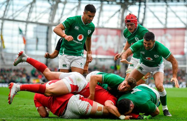 James Ryan, bottom right, goes over to score Ireland's third try. Photo: David Fitzgerald/Sportsfile
