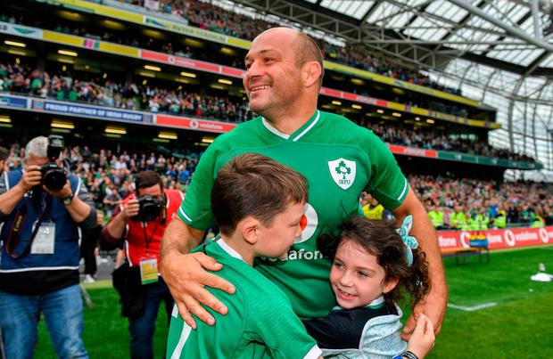 Ireland captain Rory Best, with his children Ben and Penny. Photo: Brendan Moran/Sportsfile