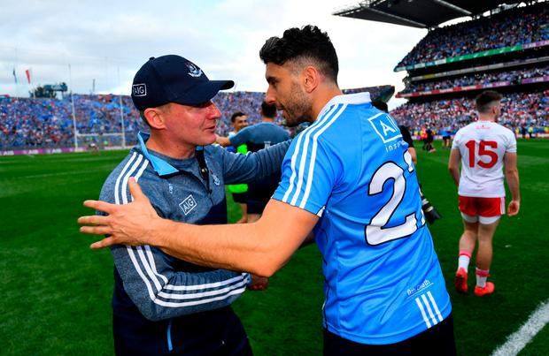Bernard Brogan and Jim Gavin congratulate each other after Dublin's victory against Tyrone in last year's All-Ireland final. Photo: Ramsey Cardy/Sportsfile