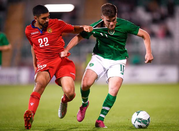 HAPPY: The Republic of Ireland's Aaron Connolly in action against Erjanik Ghubasaryan of Armenia during their Euro U21 2021 qualifier at Tallaght Stadium. Photo: Stephen McCarthy/Sportsfile