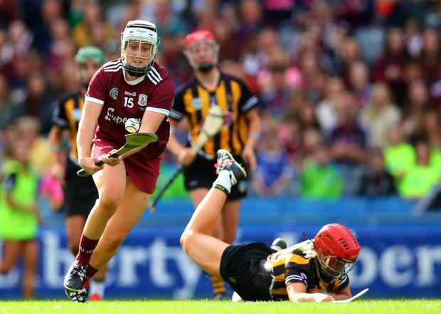 Galway's Ailish O'Reilly rounds the Kilkenny defence on her way to scoring one of her two goals in yesterday's All-Ireland camogie final. Photo: INPHO/Tommy Dickson