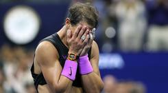 Rafael Nadal of Spain celebrates after winning his Men's Singles final match against Daniil Medvedev at the US Open (Photo by Matthew Stockman/Getty Images)