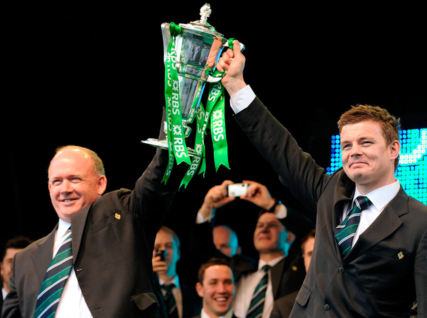 Declan Kidney and Brian O'Driscoll lift the Six Nations trophy after the 2009 Grand Slam success. Picture: Diarmuid Greene / Sportsfile