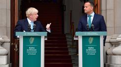 British Prime Minister Boris Johnson with Taoiseach Leo Varadkar. Photo: Getty