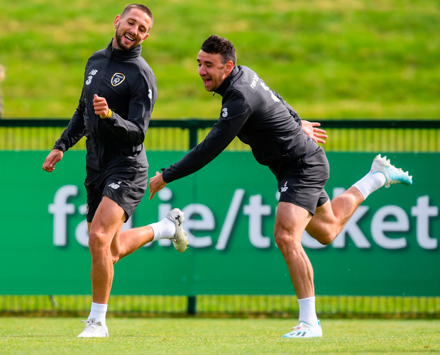 Conor Hourihane and Enda Stevens in relaxed mood at training yesterday. Photo: Sportsfile