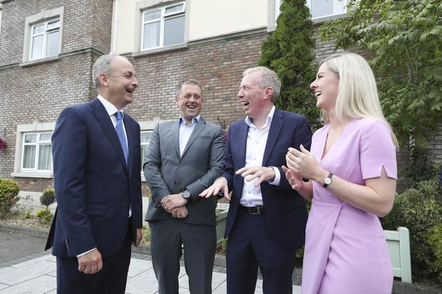 Think in: Fianna Fáil's Micheál Martin, Thomas Byrne, Timmy Dooley and Lisa Chambers at the Ashdown Hotel, Gorey, Co Wexford. Photo: Conor McCabe