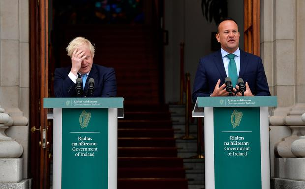 Leo Varadkar speaks to the media ahead of his meeting with Boris Johnson. Photo: Charles McQuillan/Getty Images