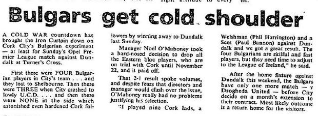 A clipping from the Irish Independent, back in 1989.