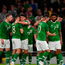 Alan Browne of Republic of Ireland is congratulated by team-mates after scoring his side's first goal