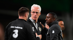 Ireland manager Mick McCarthy, left, with assistant coaches Robbie Keane, left, and Terry Connor