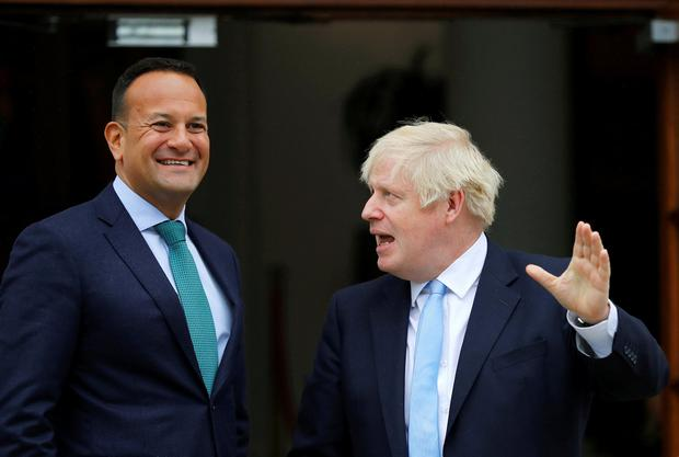 Taoiseach Leo Varadkar and British Prime Minister Boris Johnson at Government Buildings in Dublin on Monday. Photo: Reuters