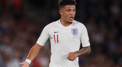 England's Jadon Sancho in action against Kosovo during their Euro 2020 Group A qualifier at St Mary's Stadium, Southampton on Tuesday night. Pic: Reuters/David Klein