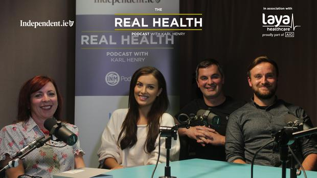Karl Henry with this week's guests, Janet Cleary, left, a clinical nurse and mindfulness coach, Peter Thornton, right, a wellness advisor with Spectrum Health, and Holly Carpenter, blogger and business woman