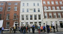 Protesters and residents outside the Vulture fund Val Issuer Dac on Molesworth Street, Dublin Photo: Gareth Chaney/Collins