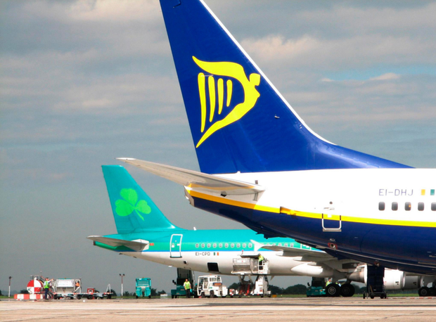 Ryanair and Aer Lingus planes side by side