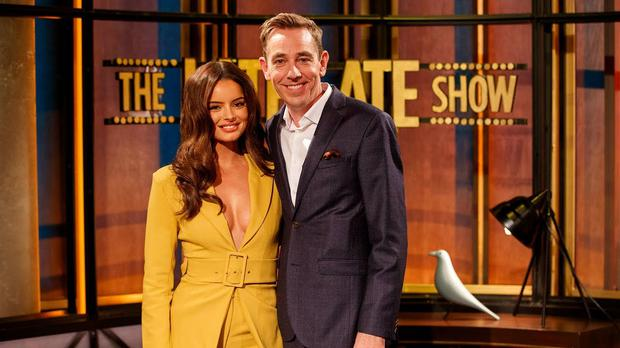 Maura Higgins with Ryan Tubridy on The Late Late Show, RTE One