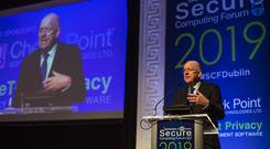 Justice Minister Charlie Flanagan at the Secure Computing Forum cyber security conference at Dublin's RDS. Photo: Mark Condren