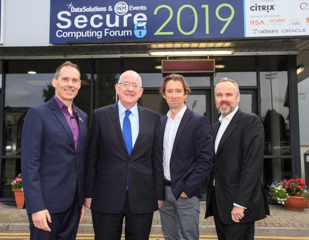 Minister Charlie Flanagan who opened the Secure Computing Forum 2019 pictured with Michael O'Hora, Group Managing Director Data Solutions, Adrian Weckler Tech Editor INM, Cormac Bourke Editor Irish Independent and Sunday Independent Pic:Mark Condren