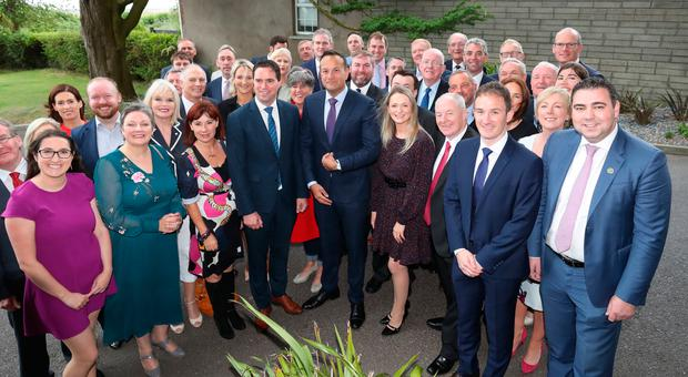 Taoiseach Leo Varadkar with his Parliamentary Party during the Fine Gael parliamentary meeting at the Garryvoe Hotel in Cork. Photo: Niall Carson/PA Wire