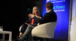 Warning: Data Protection Commissioner Helen Dixon talks to Irish Independent Technology Editor Adrian Weckler at the Secure Computing Forum at the RDS, Dublin. Photo: Mark Condren