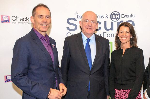 Minister Charlie Flanagan who opened the Secure Computing Forum 2019 pictured with Michael O'Hora, Group Managing Director Data Solutions and Roberta McCrossan, group marketing director of data solution. Photo: Mark Condren