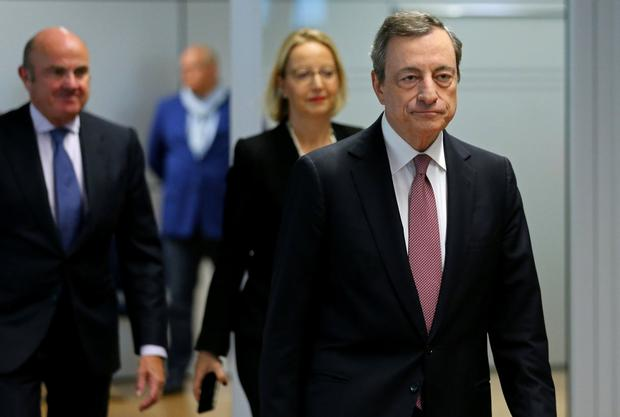 European Central Bank (ECB) President Mario Draghi arrives at a news conference in Frankfurt, Germany yesterday. Photo: REUTERS/Ralph Orlowski