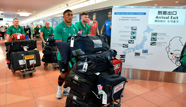 Bundee Aki of Ireland on the squad's arrival in Hanada Airport in Tokyo
