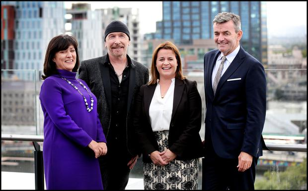Anne Heraty CEO of Cpl Resources plc, U2's The Edge, Elaine Coughlan Managing Partner and Founder of Atlantic Bridge and Mark Roden Founder and Chief Executive of Ding pictured at the launch of Endevour Ireland at the Marker Hotel. Picture: Steve Humphreys
