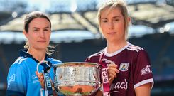Dublin captain Sinéad Aherne and Galway counterpart Tracey Leonard hold the Brendan Martin Cup ahead of tomorrow's Ladies SFC final in Croke Park. Photo: Sportsfile