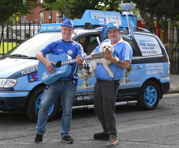 Dublin fans John Watson and Paul Hanney in Halston Street before the All Ireland final replay