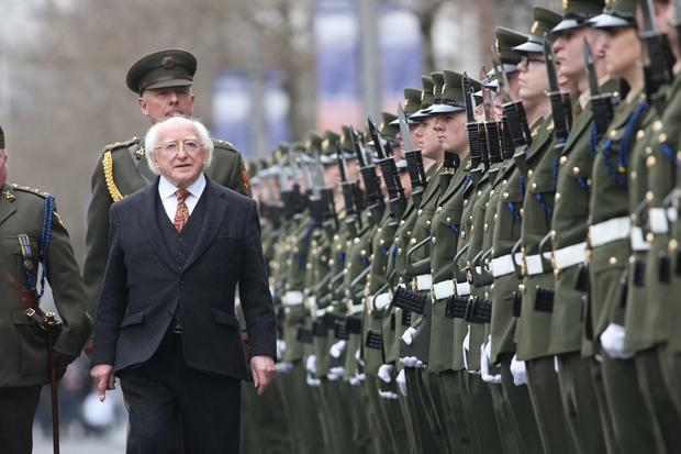 Independent spirit: President Michael D Higgins inspects the Defence Forces on Dublin's O'Connell Street in 2016. Photo: Sasko Lazarov/RollingNews.ie