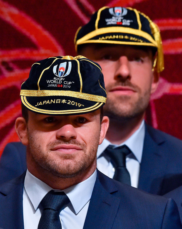 Konnichi wa: Ireland's Cian Healy and Jack Conan wear their Rugby World Cup 2019 caps during the Ireland Welcome Ceremony at Mihama Bunka Hall in Chiba Prefecture, Japan. Photo: Brendan Moran, Sportsfile