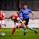 Glen McAuley of St Patricks Athletic in action against Harry McEvoy of UCD. Photo by Sam Barnes/Sportsfile