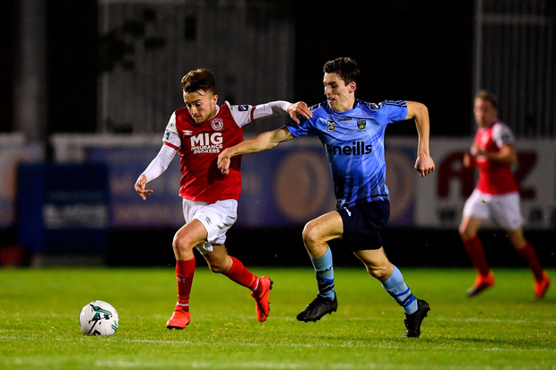 Darragh Markey of St Patricks Athletic in action against Dara Keane of UCD. Photo by Sam Barnes/Sportsfile